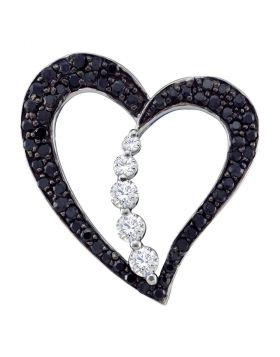 10kt White Gold Womens Round Black Color Enhanced Diamond Heart Journey Pendant 1/2 Cttw