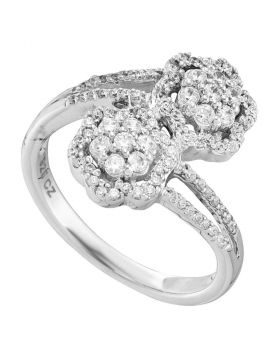 14kt White Gold Womens Round Diamond Double Bypass Flower Cluster Ring 1/2 Cttw