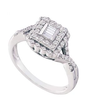 10kt White Gold Womens Baguette Diamond Square Halo Cluster Ring 1/4 Cttw