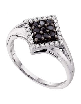 10kt White Gold Womens Round Black Color Enhanced Diamond Diagonal Square Cluster Ring 1/4 Cttw