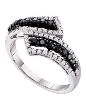 14kt White Gold Womens Round Black Color Enhanced Diamond Bypass Band Ring 1/2 Cttw