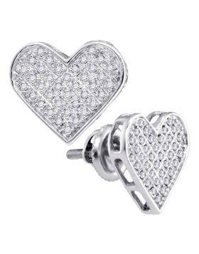 Sterling Silver Womens Round Diamond Heart Cluster Earrings 1/4 Cttw