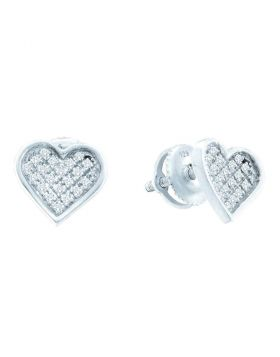 Sterling Silver Womens Round Diamond Heart Cluster Earrings 1/10 Cttw