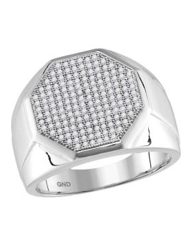 10KT WHITE GOLD ROUND PAVE-SET DIAMOND OCTAGON CLUSTER RING 1/2 CTTW