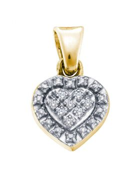 Yellow-tone Sterling Silver Womens Round Diamond Small Heart Pendant .03 Cttw