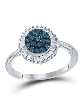 10kt White Gold Womens Round Blue Color Enhanced Diamond Framed Cluster Ring 1/2 Cttw
