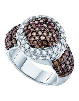 10kt White Gold Womens Round Cognac-brown Color Enhanced Diamond Halo Cluster Ring 2.00 Cttw