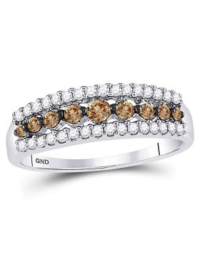 10kt White Gold Womens Round Cognac-brown Color Enhanced Diamond Triple Row Band Ring 1/2 Cttw