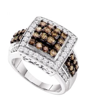 10kt White Gold Womens Round Cognac-brown Color Enhanced Diamond Square Cluster Ring 1-1/2 Cttw