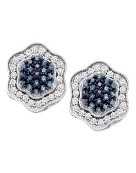 10kt White Gold Womens Round Blue Color Enhanced Diamond Hexagon Cluster Earrings 3/4 Cttw
