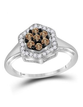 10kt White Gold Womens Round Cognac-brown Color Enhanced Diamond Polygon Cluster Ring 1/2 Cttw