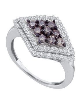 10kt White Gold Womens Round Cognac-brown Color Enhanced Diamond Diagonal Cluster Ring 3/4 Cttw
