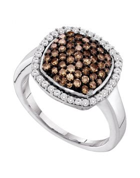10kt White Gold Womens Round Cognac-brown Color Enhanced Diamond Square Cluster Ring 7/8 Cttw