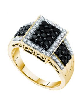 14kt Yellow Gold Womens Round Black Color Enhanced Diamond Rectangle Cluster Ring 5/8 Cttw