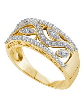 10kt Yellow Gold Womens Round Diamond Vine Leaf Band Ring 3/8 Cttw