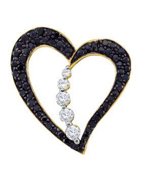 10kt Yellow Gold Womens Round Black Color Enhanced Diamond Heart Journey Pendant 1/2 Cttw
