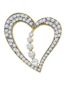 10kt Yellow Gold Womens Round Diamond Heart Journey Pendant 1/2 Cttw