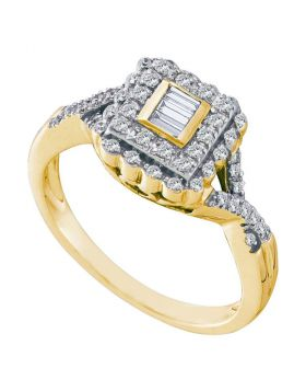 10kt Yellow Gold Womens Baguette Diamond Square Halo Cluster Ring 1/4 Cttw