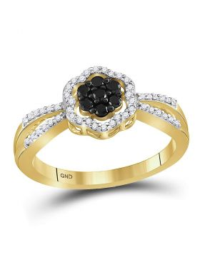 10kt Yellow Gold Womens Round Black Color Enhanced Diamond Flower Cluster Ring 1/3 Cttw
