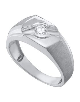 10KT WHITE GOLD ROUND DIAMOND SOLITAIRE SATIN-FINISH RING 1/4 CTTW