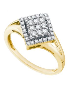10kt Yellow Gold Womens Round Diamond Diagonal Square Cluster Ring 1/4 Cttw