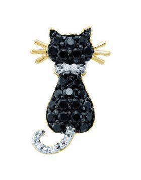 10kt Yellow Gold Womens Round Black Color Enhanced Diamond Kitty Cat Feline Pendant 1/3 Cttw
