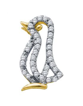 10kt Yellow Gold Womens Round Diamond Penguin Bird Animal Pendant 1/6 Cttw