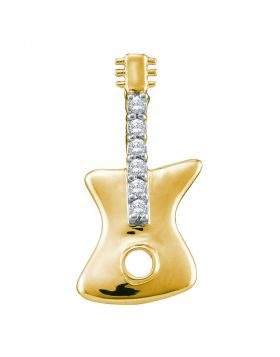 10kt Yellow Gold Womens Round Diamond Electric Guitar Music Instrument Pendant 1/20 Cttw
