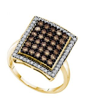 10kt Yellow Gold Womens Round Cognac-brown Color Enhanced Diamond Rectangle Cluster Ring 1.00 Cttw