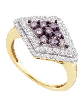 10kt Yellow Gold Womens Round Cognac-brown Color Enhanced Diamond Diagonal Cluster Ring 3/4 Cttw