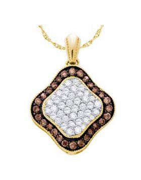 10kt Yellow Gold Womens Round Cognac-brown Color Enhanced Diamond Square Cluster Pendant 1.00 Cttw