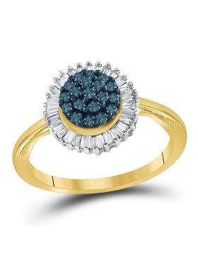 10kt Yellow Gold Womens Round Blue Color Enhanced Diamond Framed Cluster Ring 1/2 Cttw