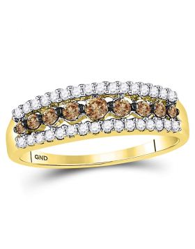 10kt Yellow Gold Womens Round Cognac-brown Color Enhanced Diamond Triple Row Band Ring 1/2 Cttw