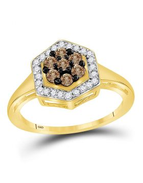 10kt Yellow Gold Womens Round Cognac-brown Color Enhanced Diamond Polygon Cluster Ring 1/2 Cttw