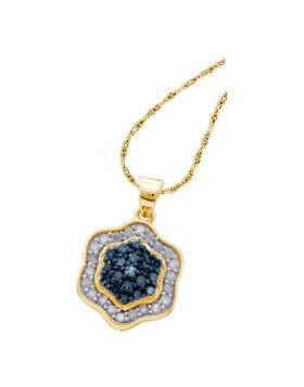 10kt Yellow Gold Womens Round Blue Color Enhanced Diamond Hexagon Cluster Pendant 1/2 Cttw