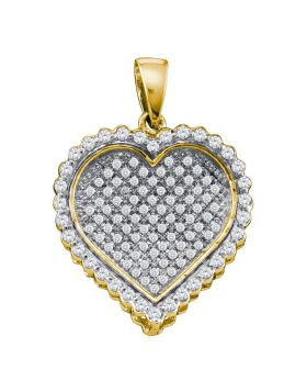 10kt Yellow Gold Womens Round Diamond Concave Heart Cluster Pendant 1/2 Cttw
