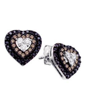 14kt White Gold Womens Round Cognac-brown Black Color Enhanced Diamond Heart Cluster Earrings 1/2 Cttw