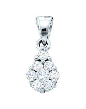 14kt White Gold Womens Round Diamond Flower Cluster Pendant 1/6 Cttw
