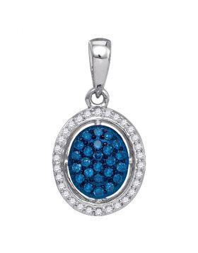 10kt White Gold Womens Round Blue Color Enhanced Diamond Oval Cluster Pendant 1/5 Cttw