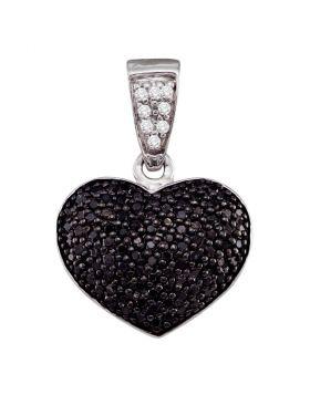 10kt White Gold Womens Round Black Color Enhanced Diamond Heart Cluster Pendant 1/2 Cttw
