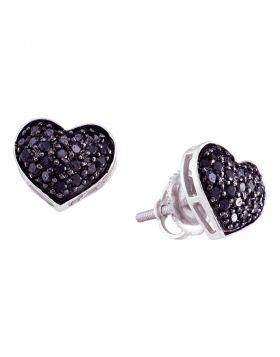 10kt White Gold Womens Round Black Color Enhanced Diamond Heart Cluster Earrings 3/8 Cttw