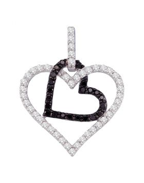 10kt White Gold Womens Round Black Color Enhanced Diamond Double Heart Pendant 1/2 Cttw