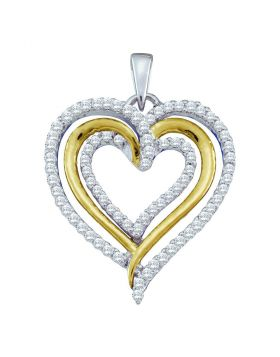 10kt White Gold Womens Round Diamond Triple Nested Heart Pendant 3/8 Cttw