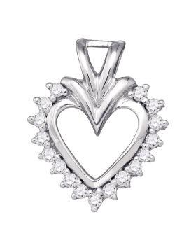 10kt White Gold Womens Round Diamond Framed Open-center Heart Pendant 1/5 Cttw