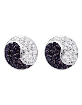 10k White Gold Black Color Enhanced Diamond Cluster Ying Yang Unisex  Screwback Stud Earrings 1/3 Cttw