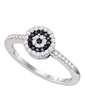 10kt White Gold Womens Round Black Color Enhanced Diamond Concentric Cluster Ring 1/3 Cttw