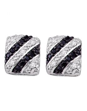 10kt White Gold Womens Round Black Color Enhanced Diamond Striped Stud Screwback Earrings 1/3 Cttw