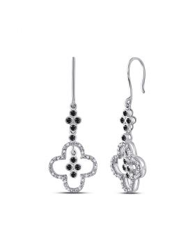 10k White Gold Black Color Enhanced Diamond Womens Cluster Wire Dangle Ear-wire Earrings 1/8 Cttw