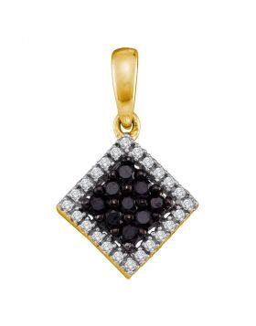 10kt Yellow Gold Womens Round Black Color Enhanced Diamond Diagonal Square Frame Pendant 1/3 Cttw