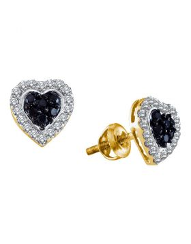 10kt Yellow Gold Womens Round Black Color Enhanced Diamond Heart Earrings 1/3 Cttw